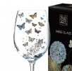Colourful Butterflies Art Design White Wine Glass Gift Boxed